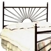 El Sol Wrought Iron Headboard - Sunburst Design