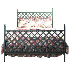 Lattice Wrought Iron Bed - Crisscross Patterns