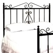 French Traditional Wrought Iron Headboard - Scrolls, Spindles