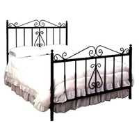 French Traditional Wrought Iron Bed - Scrolls, Spindles