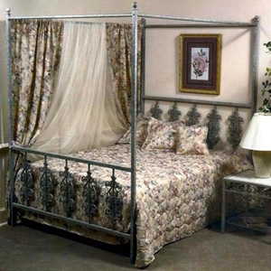 Rose Garden Canopy Wrought Iron Bed - Ornate Scrollwork