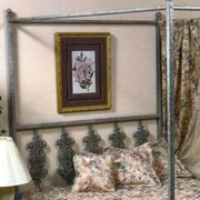 Rose Garden Wrought Iron Headboard - Ornate Scrollwork