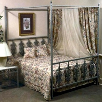 Rose Garden Wrought Iron Bed - Ornate Scrollwork