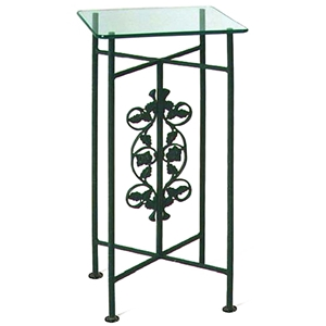 Rose Garden Square Pedestal - Wrought Iron, Clear Glass Top