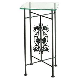 Vineyard Square Pedestal Table - Wrought Iron, Clear Glass Top