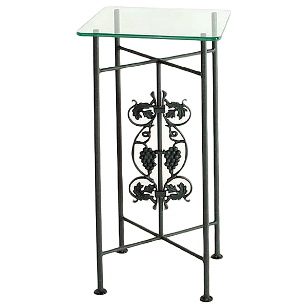 Vineyard Square Pedestal Table - Wrought Iron, Clear Glass Top - GMC-P34-7