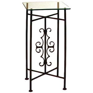 Gothic Curl Square Pedestal Table - Wrought Iron, Clear Glass Top