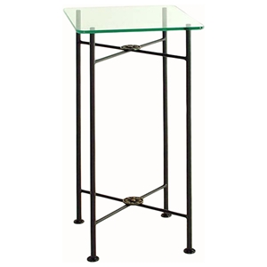 Neoclassic Square Pedestal Table - Wrought Iron, Clear Glass Top