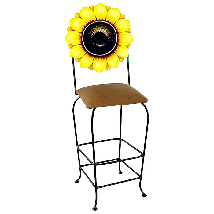 "Floral 30"" Wrought Iron Bar Stool - Hand Painted, Swivel - GMC-SW130-AL-FLORAL"