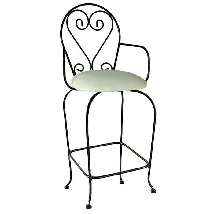"French Quarter 24"" Wrought Iron Counter Stool - Swivel, Armrests - GMC-SWB24ARM-FQ"