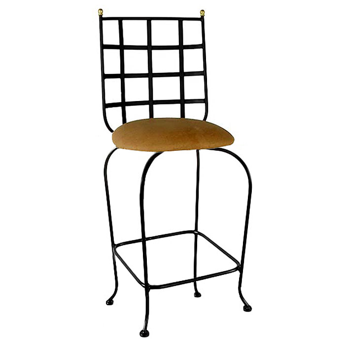 "Westminster 24"" Wrought Iron Counter Stool - Swivel, Cross Hatch Back - GMC-SWB24-W"