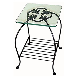 Venetian End Table - Wrought Iron, Clear Glass Top, Wire Rack