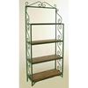 "Traditional 24"" Wrought Iron Baker's Rack - 4 Wood Shelves - GMC-T24R-WOOD"