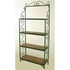 "Traditional 36"" Wrought Iron Baker's Rack - 4 Wood Shelves - GMC-T36R-WOOD"