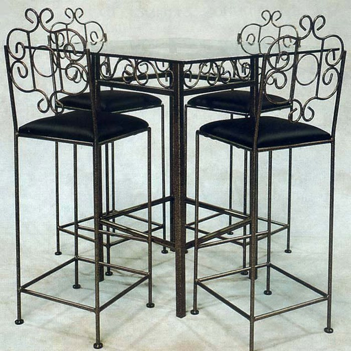 "French Traditional 30"" Wrought Iron Bar Stool - GMC-FT-30-BS"