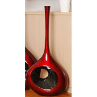37.75 Inch Tall Red Black Large Hole Vase