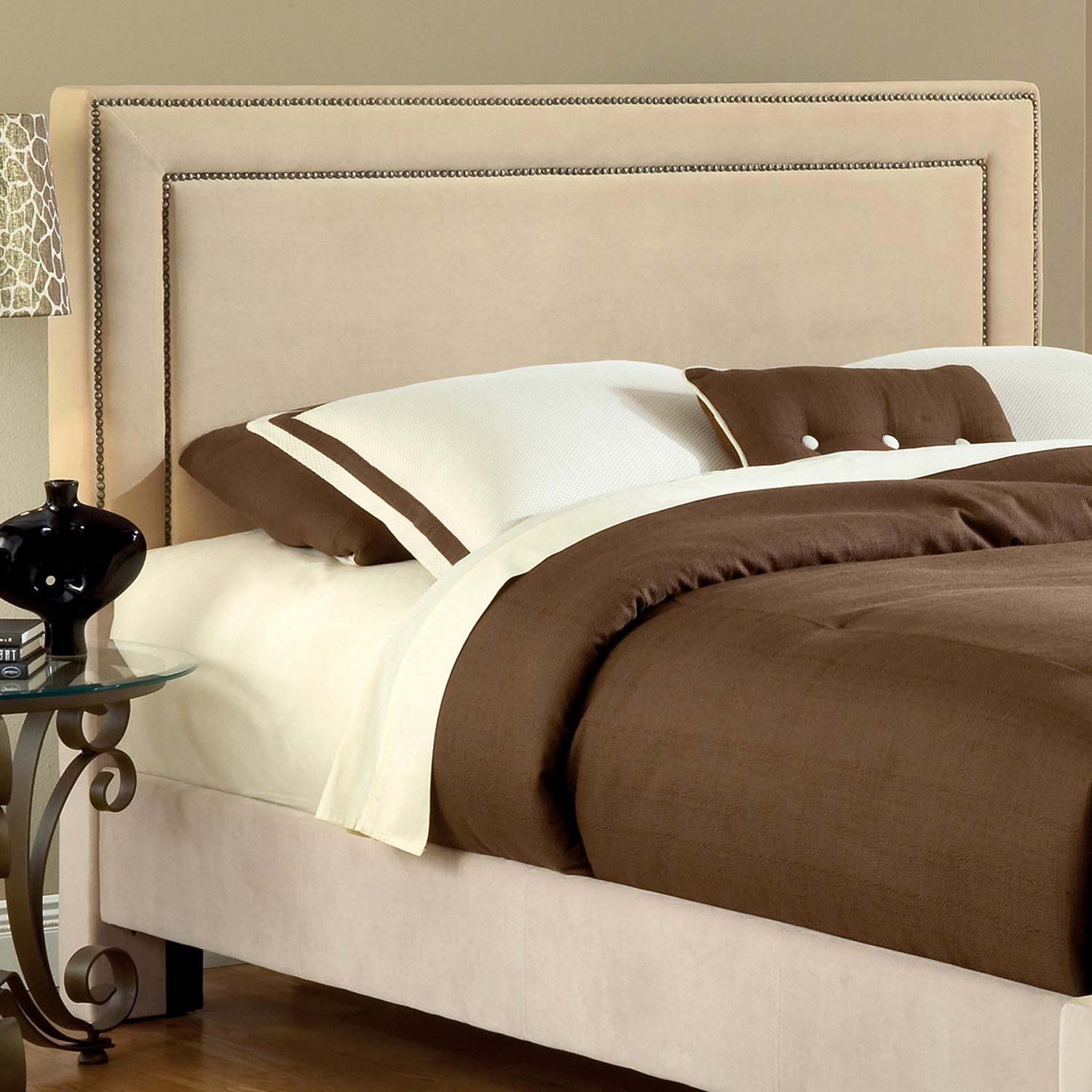 Amber Fabric Headboard - Buckwheat, Nailhead Trim