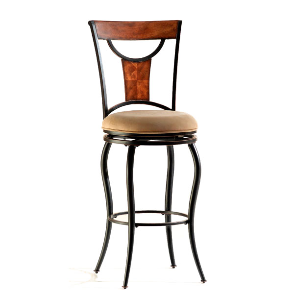 "Pacifico 30"" Swivel Bar Stool - Black Metal Frame, Beige Seat - HILL-4137-8XX"