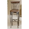 Montello Swivel Bar Stool - Old Steel, Brown Faux Leather Seat - HILL-4154X