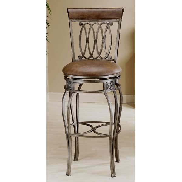 Montello Swivel Bar Stool - Old Steel, Brown Faux Leather Seat