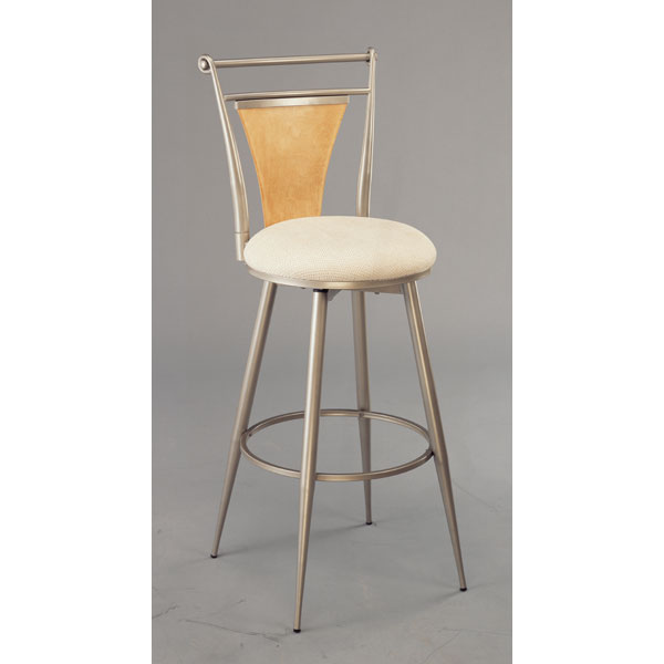 London Swivel Bar Stool - Champagne Finish, Ivory Seat