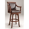 "Palm Springs 30"" Swivel Bar Stool - Brown Cherry, Brown Leather - HILL-4185-830"