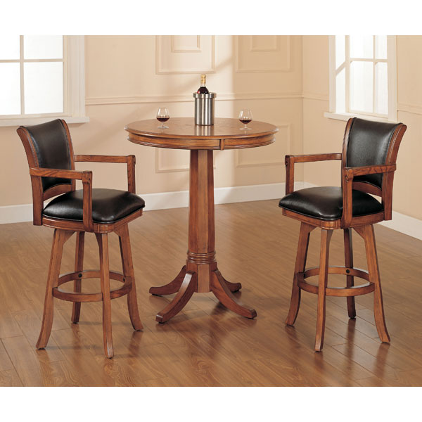 "Park View 30"" Swivel Bar Stool - Medium Brown, Brown Leather - HILL-4186-830"