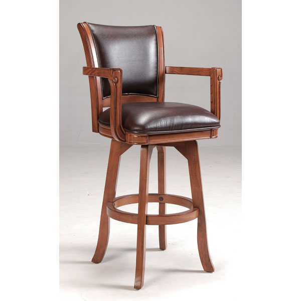 "Park View 30"" Swivel Bar Stool - Medium Brown, Brown Leather"