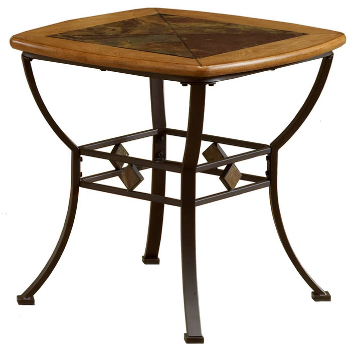 Lakeview Wood and Slate Top End Table