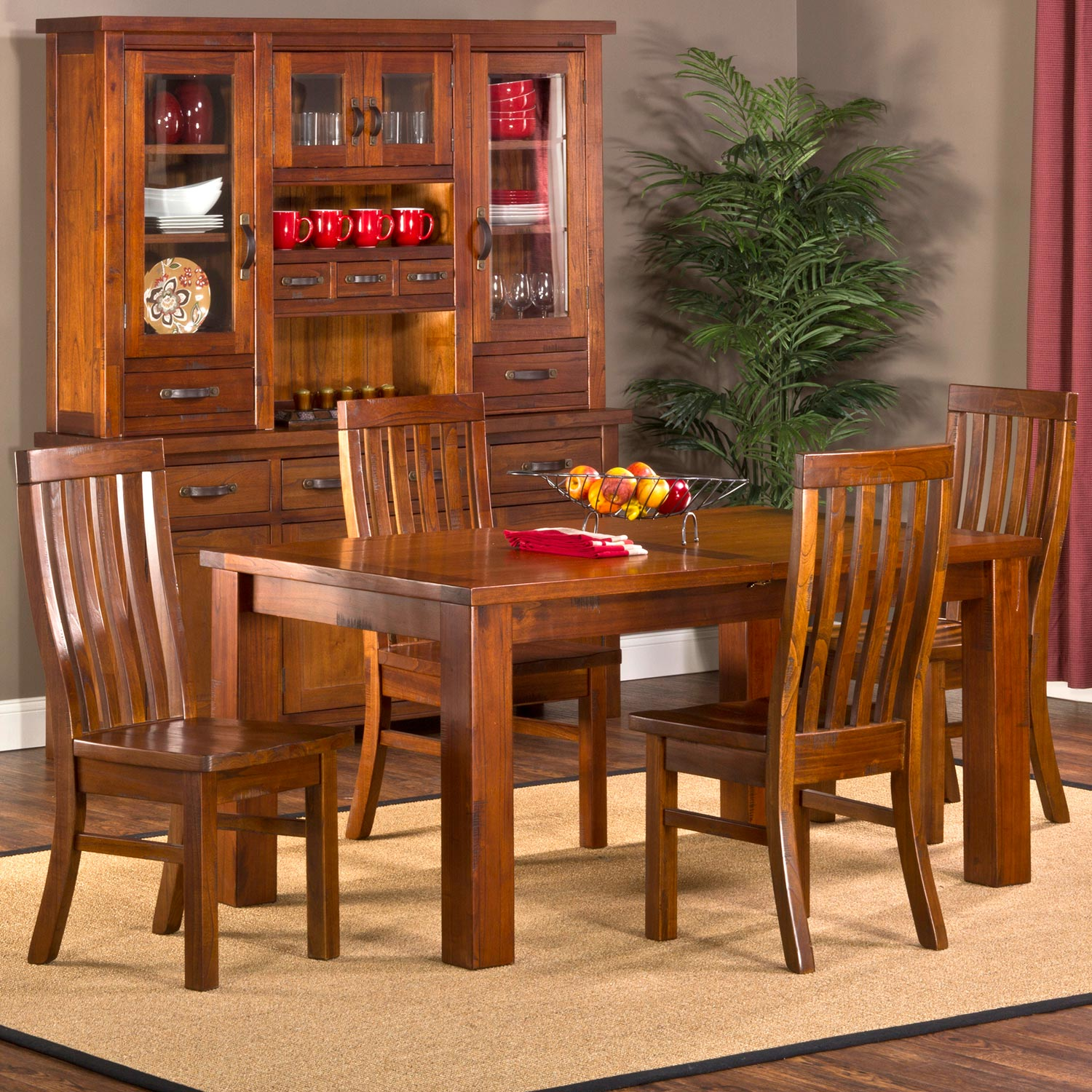 Outback 5 Piece Extension Dining Set - Distressed Chestnut - HILL-4321DTBEC