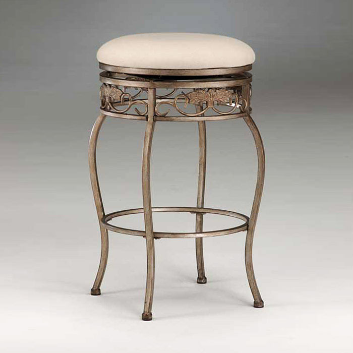 Bordeaux Backless Swivel Counter Stool In Bronze Pewter