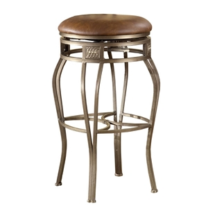 Montello Backless Swivel Bar Stool - Old Steel, Faux Leather