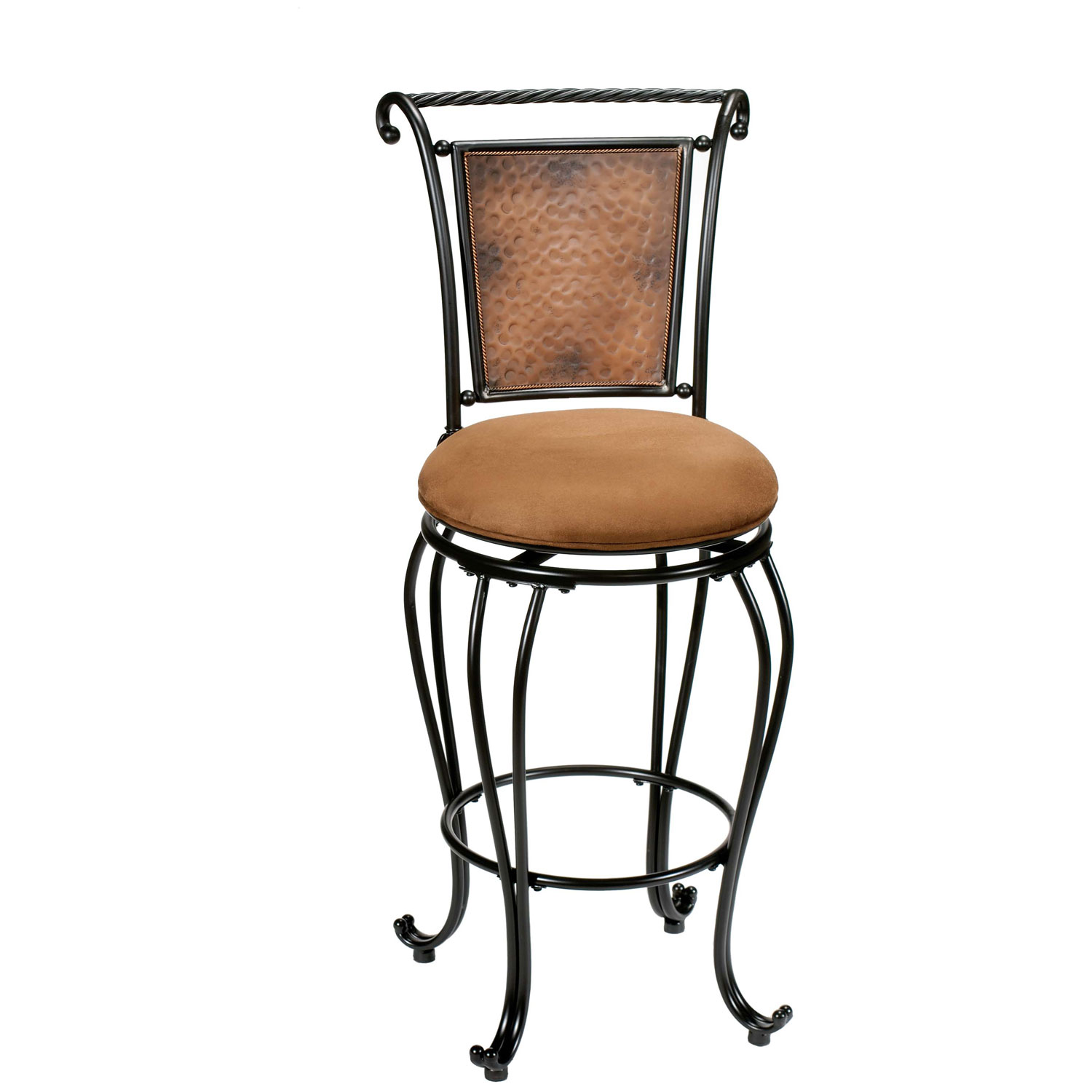 Milan Swivel Bar Stool Hammered Back Black Amp Copper