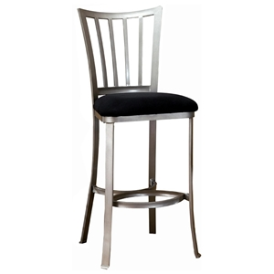 Delray Pewter Bar Stool with Black Seat