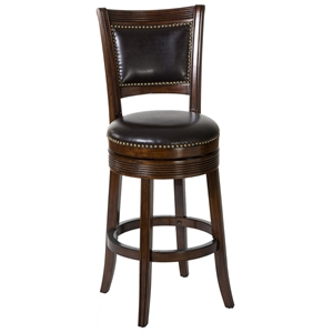 "Lockefield 26"" Wooden Counter Stool - Nail Heads, Espresso Frame"