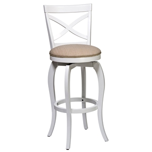 "Ellendale 25.25"" Counter Stool - Beige Seat, White Frame"