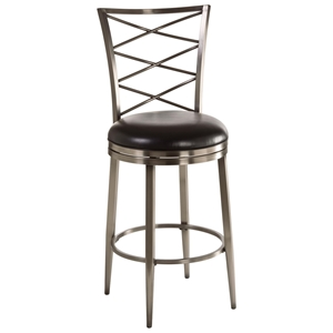"Harlow 26"" Counter Stool - Black Seat, Pewter Frame"