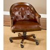Wooden office chairs with casters - Harding Leather Game Chair Button Tufts Casters Cherry Hill 6234