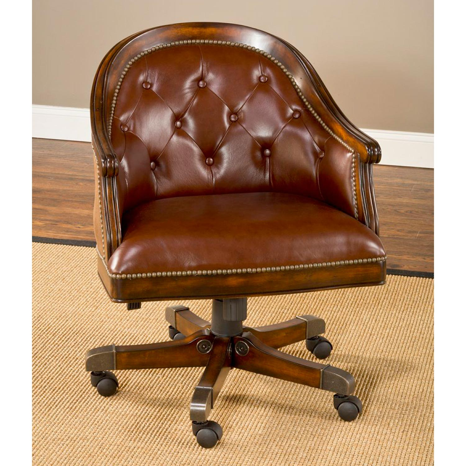 ... Harding Game Table Set   Brown Leather Chairs, Rich Cherry    HILL 6234GTBC