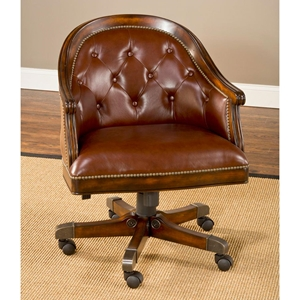 Harding Leather Game Chair - Button Tufts, Casters, Cherry