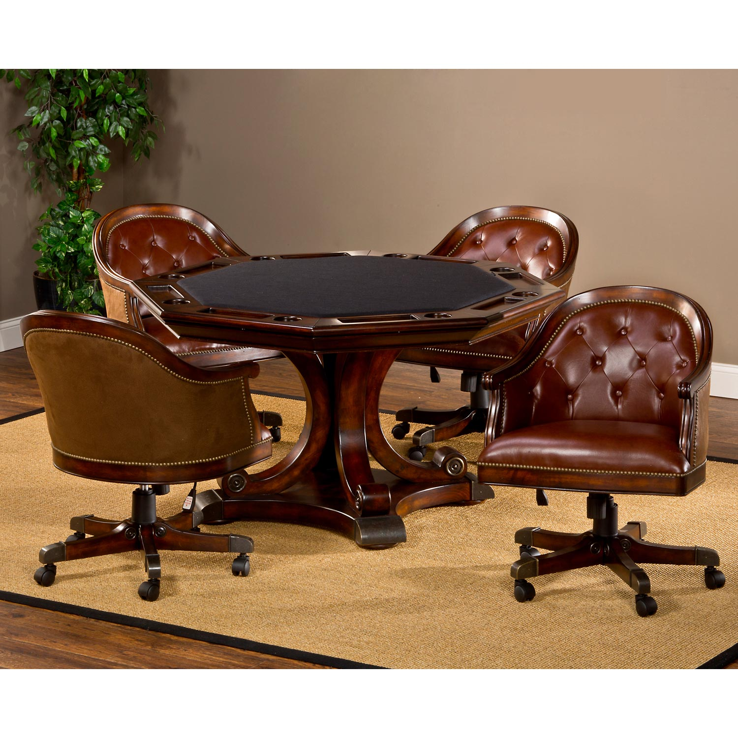 Harding Game Table Set   Brown Leather Chairs, Rich Cherry   HILL 6234GTBC  ...