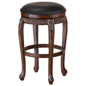 Fleur De Lis Backless Swivel Bar Stool in Black and Cherry