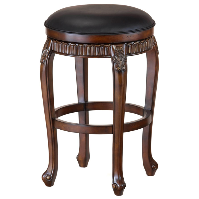 Fleur De Lis Backless Swivel Counter Stool In Black And