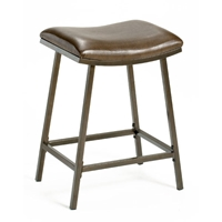 Saddle Adjustable Barstool - Backless, Coppery Brown