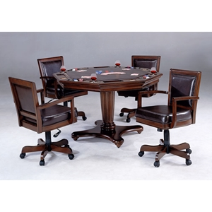 Ambassador 5 Piece Game Set with Leather Game Chairs