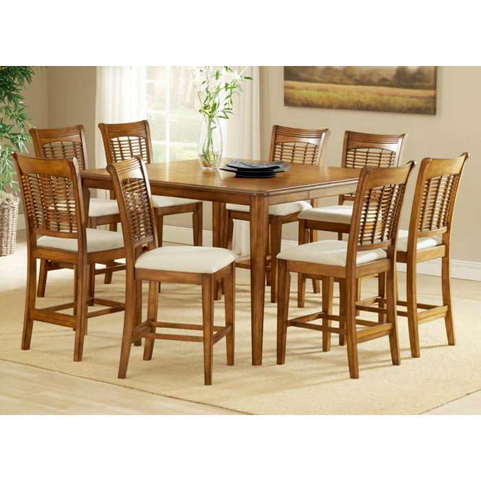 Bayberry 9 Piece Expanding Counter Set in Oak - HILL-4766DTBSG9
