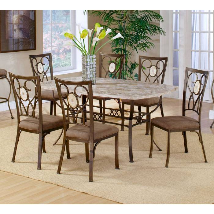 ... Brookside Fossil Stone Rectangle Dining Table   HILL 4815DTB