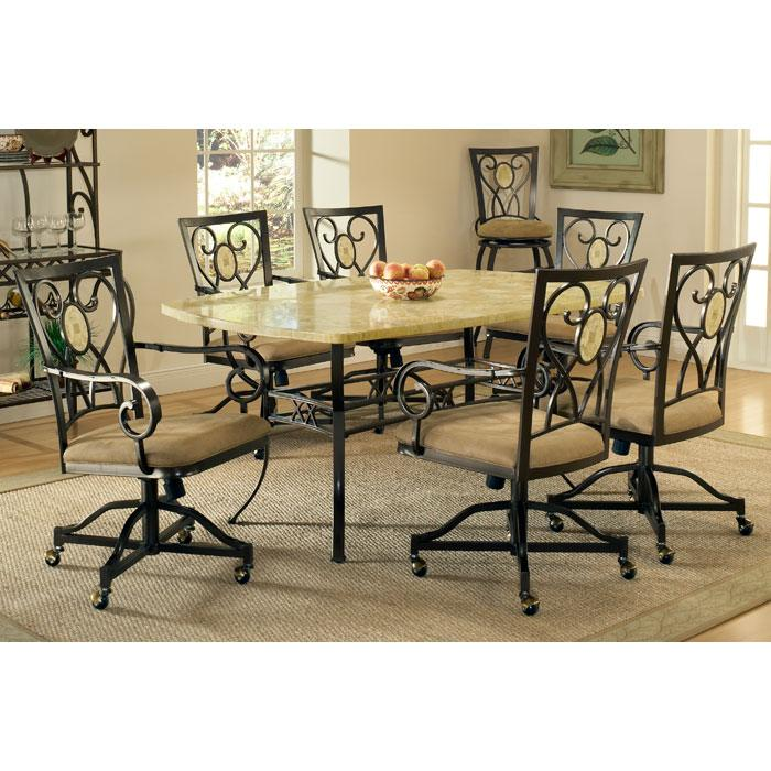 Brookside Oval Accent 7 Piece Dining Set with Caster Chairs - HILL-4815DTBCOVC7