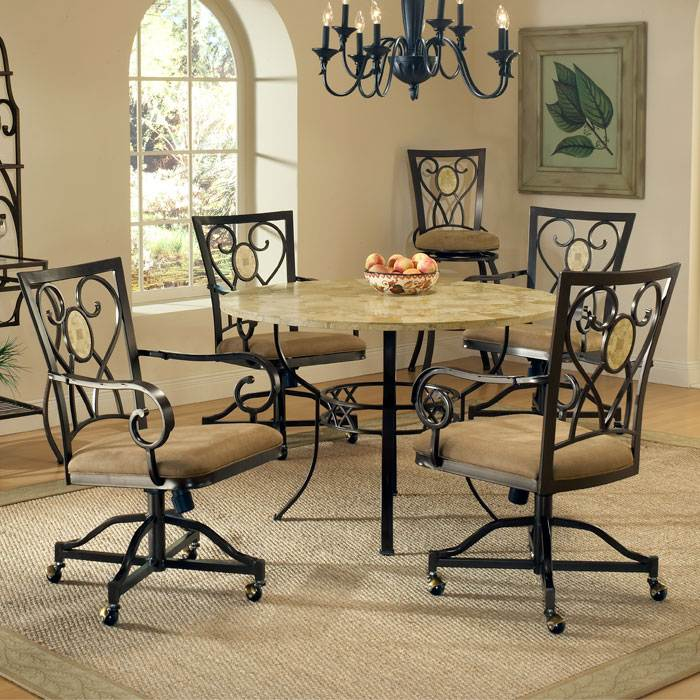 Dining Chairs Casters: Brookside Round Dining Table With Oval Fossil Accent