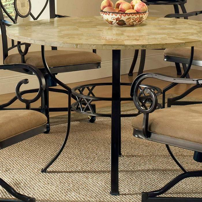 Brookside Round Dining Table with Oval Fossil Accent Caster Chairs - HILL-4815DTRNBCOVC